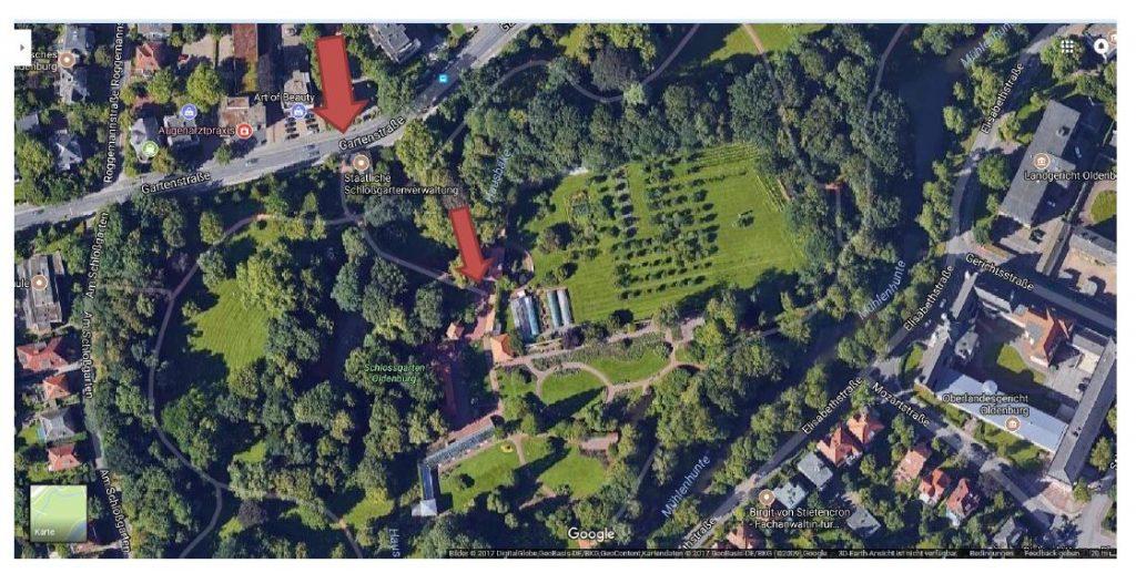 Wegbeschreibung Küchengarten - Neue Musik im Schlossgarten - Kultursommer Oldenburg